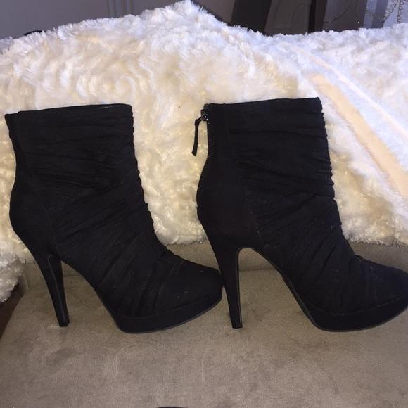 Black Suede Mid Ankle Bootie Heel Size
